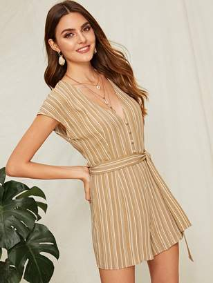 c773b2b4a3b0 Shein Striped Button Front Deep V Neck Belted Romper