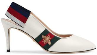 Gucci Leather Web mid-heel slingback pump