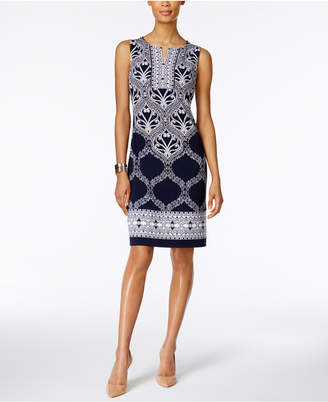 JM Collection Printed Split-Neck Sheath Dress, Only at Macy's $59.50 thestylecure.com