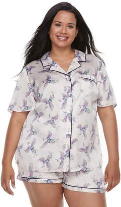 Apt. 9 Plus Size Satin Shirt & Shorts Set