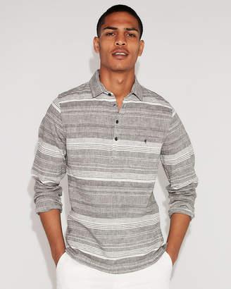 Express Slim Multicolor Stripe Linen-Blend Popover Shirt