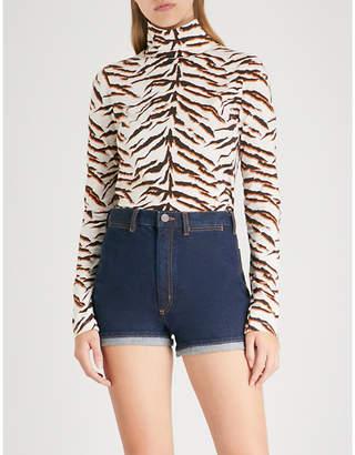 MiH Jeans x Bay Garnett Golborne Road tiger-print cotton-jersey turtleneck top