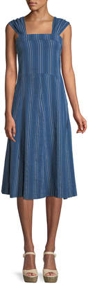 The Great Sundown Sleeveless Textured-Stripe Yea-Length Denim Dress