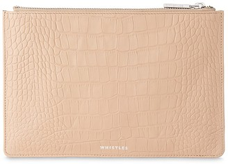 Whistles Matte Small Croc-Embossed Leather Clutch $90 thestylecure.com