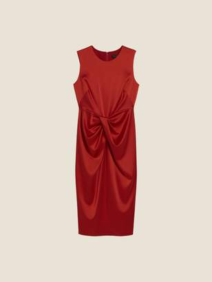 DKNY Satin Sleeveless Drape Front Dress