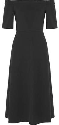 Tibi Off-The-Shoulder Stretch-Cady Midi Dress