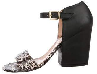 Robert Clergerie Snakeskin Ankle Strap Sandals