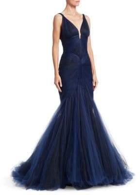 Zac Posen Sleeveless Tulle Mermaid Gown