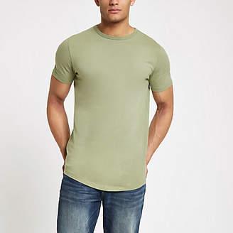 River Island Green curved hem longline T-shirt