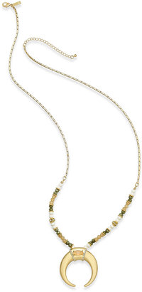 INC International Concepts Gold-Tone Beaded Horn Pendant Necklace, Only at Macy's $39.50 thestylecure.com