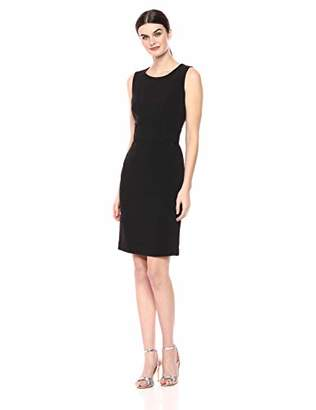 Nine West Women's Sleeveless Jewel Neck Dress with Belted Waist Detail
