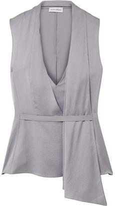 Narciso Rodriguez Draped Silk-satin Twill Top - Gray