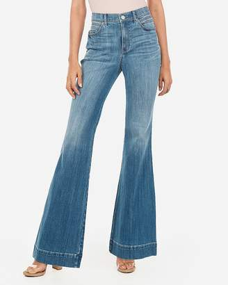 Express High Waisted Light Wash Bell Flare Jeans