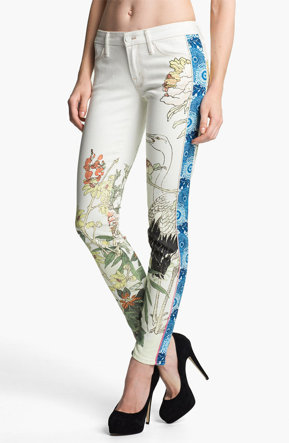 Mother 'The Looker' Mixed Print Skinny Jeans (The Scent of Sake)