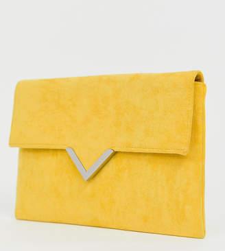 Accessorize bright yellow foldover v bar clutch bag