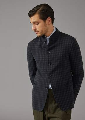 Giorgio Armani Single-Breasted Washed Jacquard Jacket With Houndstooth Pattern And Mandarin Collar