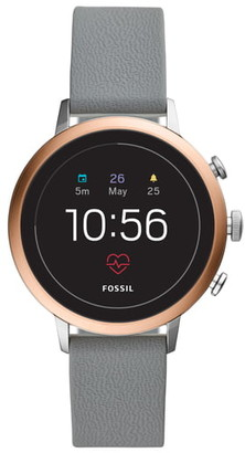 Fossil Q Venture HR Leather Strap Smart Watch, 40mm