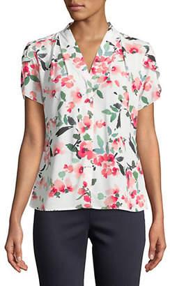Calvin Klein Floral Short-Sleeve Blouse