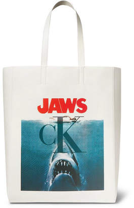 Jaws Printed Leather Tote Bag