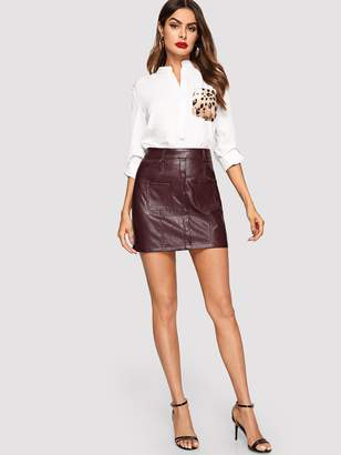 Shein Button Up Pocket Patched PU Leather Skirt