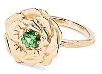 Aurelie Bidermann 18K Yellow Gold & Tsavorite Rose Ring