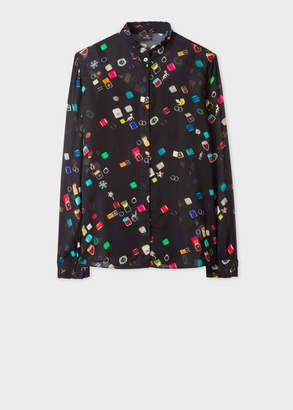 Paul Smith Women's Black 'Ring Boxes' Print Shirt With Ruffle Trims