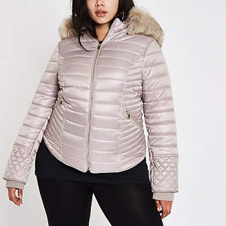 River Island Plus cream faux fur high shine padded coat