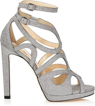 7826ce8846c at Jimmy Choo · Jimmy Choo LEO 120 Silver Fine Glitter Leather Platform  Sandals
