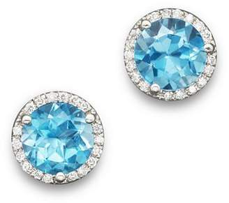 Bloomingdale's Blue Topaz and Diamond Halo Stud Earrings in 14K White Gold - 100% Exclusive