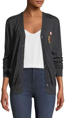 Dolce & Gabbana Long-Sleeve Button-Down Wool Cardigan w/ Heart Patch