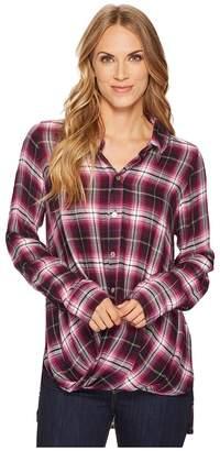 Mod-o-doc Thistle Long Sleeve Twist Hem Shirt Women's Clothing