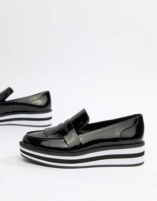 Monki stripe platform loafer in patent black