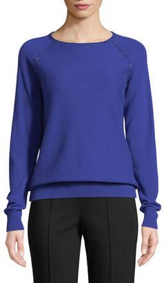 St. John Cashmere Jacquard Knit Raglan-Sleeve Sweater With Embellishment