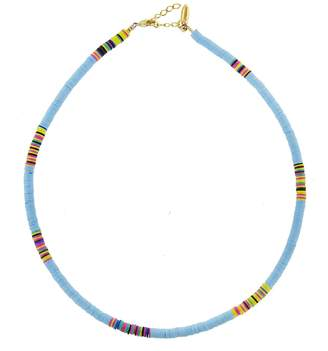 ALLTHEMUST Small Light Blue Heishi Bead Necklace - Yellow Gold