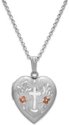 Macy's Painted Cross Heart Locket Necklace in Sterling Silver