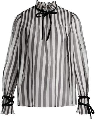 Valentino Striped silk organza blouse