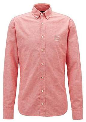 HUGO BOSS Slim-fit shirt with button-down collar in peached cotton