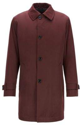 BOSS Regular-fit overcoat in twill with quilted lining