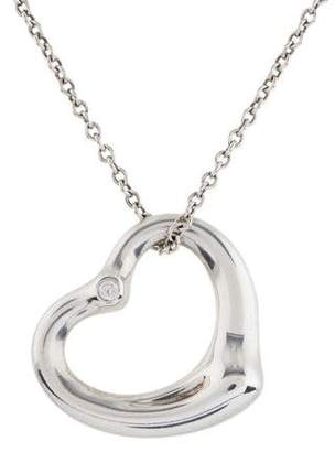 Tiffany & Co. Diamond Open Heart Pendant Necklace