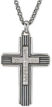 Esquire Men's Jewelry Diamond Cross Pendant Necklace (1/3 ct. t.w.) in Sterling Silver, Created for Macy's