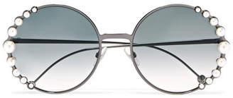 Fendi Faux Pearl-embellished Round-frame Gunmetal-tone Sunglasses - Gray