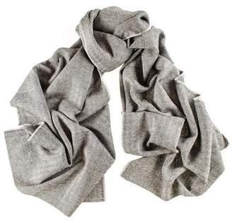 Black City Herringbone Silk and Merino Wool Scarf