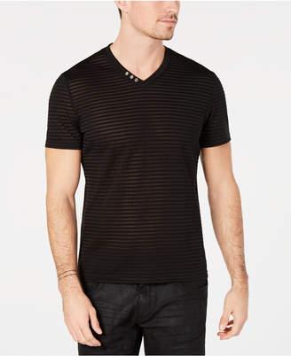 INC International Concepts I.n.c. Men V-Neck Sheer Striped T-Shirt