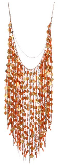Chan Luu Coin Fringe Necklace With Orange Thread (Carrot) - Jewelry