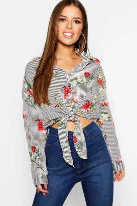 boohoo Petite Stripe And Floral Oversized Shirt
