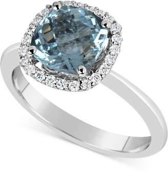 Macy's Aquamarine (2-1/4 ct. t.w.) and Diamond (1/5 ct. t.w.) Ring in 14k White Gold
