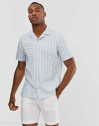 Jack and Jones revere collar striped short sleeve shirt in light blue