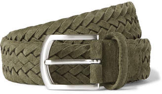 Andersons Anderson's - 3.5cm Green Woven Suede Belt - Green