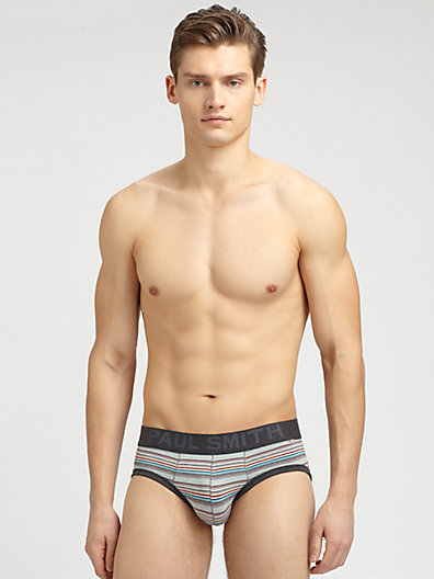 Paul Smith Striped Cotton-Blend Briefs