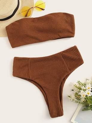 Shein Rib-knit Bandeau With High Waist Bikini Set